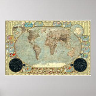Mapa político del mundo - decorativo imperial posters