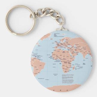 Mapa político del mundo llavero redondo tipo pin