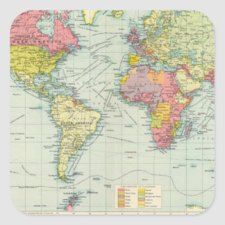 Mapa político del mundo pegatina cuadrada