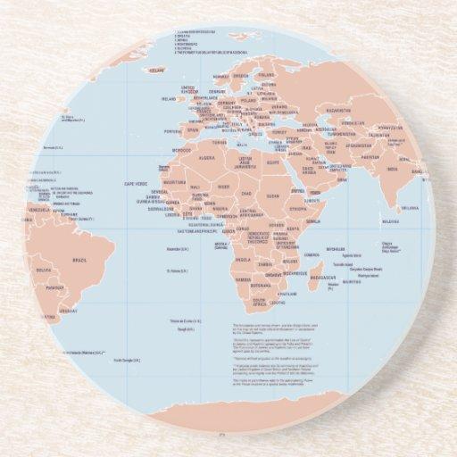 Mapa político del mundo posavasos para bebidas