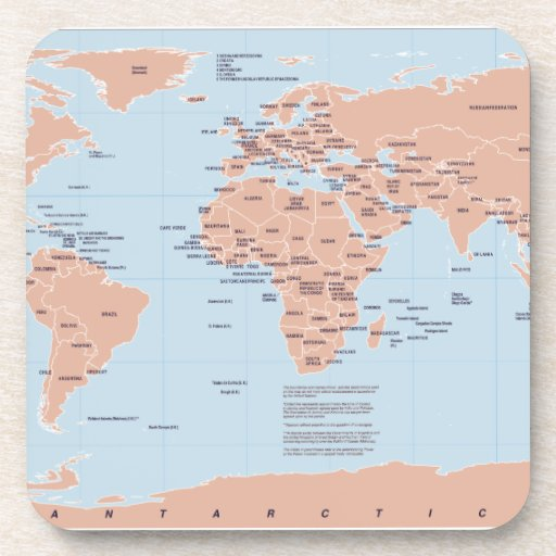 Mapa político del mundo posavasos de bebidas