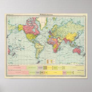 Mapa político del mundo póster