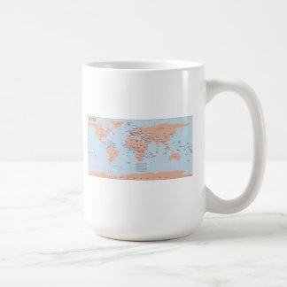 Mapa político del mundo taza básica blanca