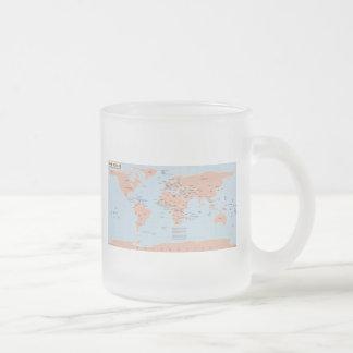 Mapa político del mundo taza de cristal
