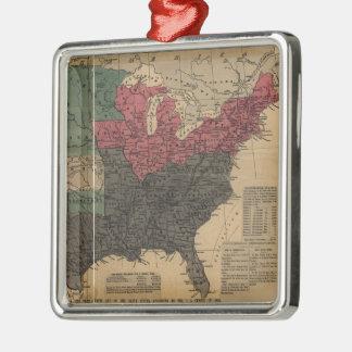 Mapa político del vintage de los Estados Unidos Adorno Cuadrado Plateado