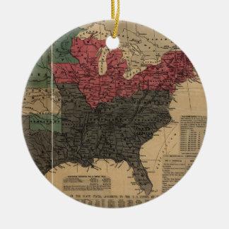 Mapa político del vintage de los Estados Unidos Adorno Redondo De Cerámica