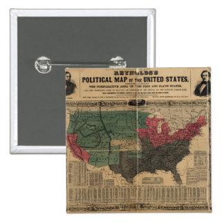 Mapa político del vintage de los Estados Unidos Chapa Cuadrada 5 Cm