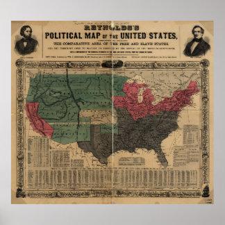 Mapa político del vintage de los Estados Unidos Póster