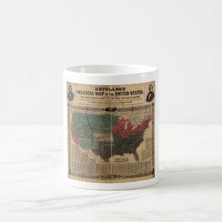 Mapa político del vintage de los Estados Unidos Taza Clásica