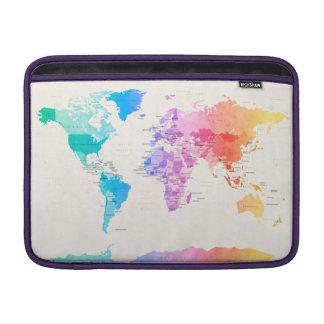 Mapa político del Watercolour del mundo Fundas Para Macbook Air
