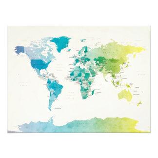 Mapa político del Watercolour del mundo Impresiones Fotograficas