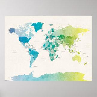 Mapa político del Watercolour del mundo Póster
