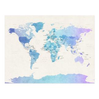 Mapa político del Watercolour del mundo Postales