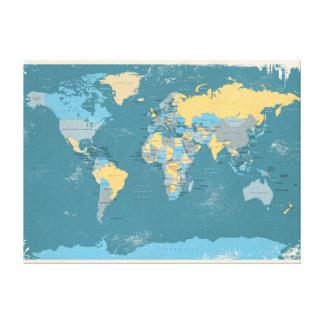 Mapa político retro del mundo lienzo envuelto para galerías