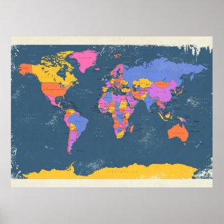 Mapa político retro del mundo poster