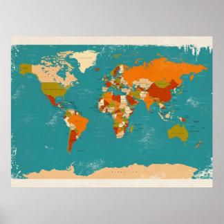 Mapa político retro del mundo posters