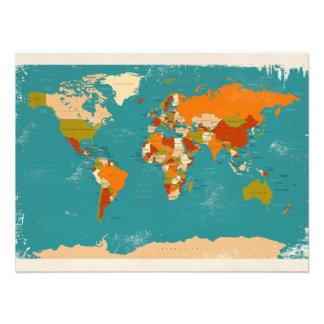Mapa político retro del mundo fotografias