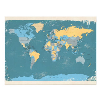 Mapa político retro del mundo fotografía