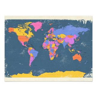 Mapa político retro del mundo fotografías