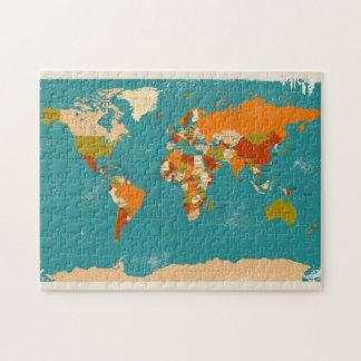 Mapa político retro del mundo rompecabezas con fotos