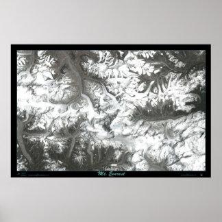 Mapa por satélite de la impresión de la foto del p posters