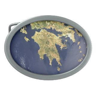mapa por satélite de Peloponeso Grecia Hebillas De Cinturón Ovales