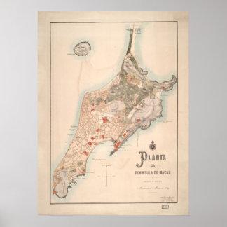 Mapa portugués antiguo de Macao 1889 Posters