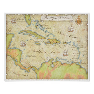 Mapa principal español poster