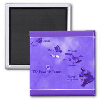 Mapa púrpura de la isla hawaiana imán cuadrado