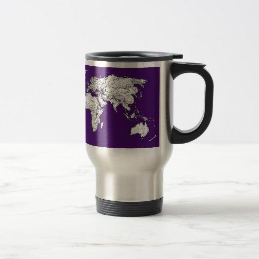 Mapa púrpura oscuro tazas de café