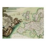 Mapa que ilustra el ataque naval contra Inglaterra Postal