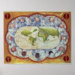 Mapa que remonta el viaje del mundo de Magellan Posters