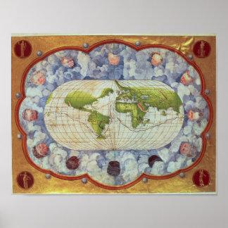 Mapa que remonta el viaje del mundo de Magellan Póster