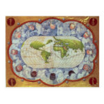 Mapa que remonta el viaje del mundo de Magellan Tarjeta Postal