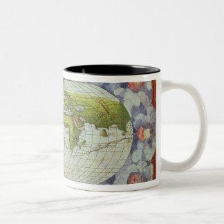Mapa que remonta el viaje del mundo de Magellan Tazas De Café