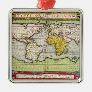 Mapa que traza a sir Francis Drake Adorno Cuadrado Plateado