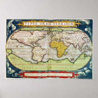Mapa que traza a sir Francis Drake Posters