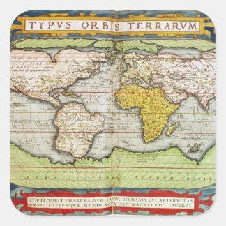 Mapa que traza a sir Francis Drake Pegatina Cuadrada