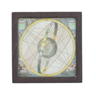 Mapa que traza la órbita de la luna alrededor del caja de regalo de calidad