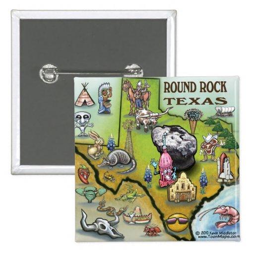 Mapa redondo del dibujo animado de Tejas de la roc Pin Cuadrada 5 Cm