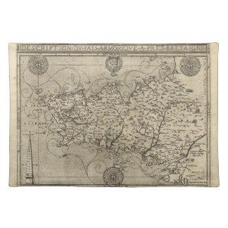 Mapa regional Bretaña y Armorica Francia (1594) Manteles Individuales