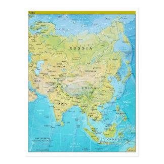 Mapa regional geopolítico de Asia Tarjetas Postales