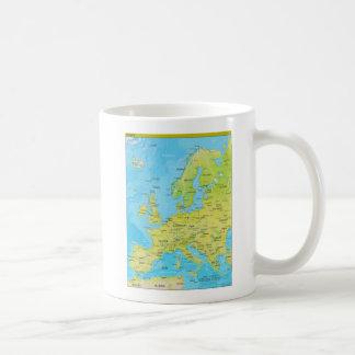 Mapa regional geopolítico de Europa Taza Básica Blanca