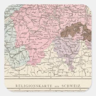 Mapa religioso y lingüístico de Suiza Pegatina Cuadrada