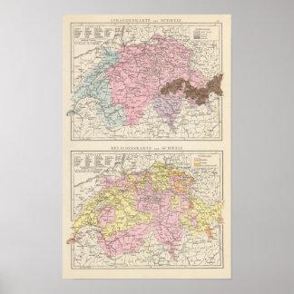 Mapa religioso y lingüístico de Suiza Póster