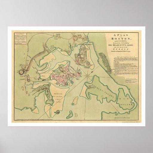 Mapa revolucionario 1776 de Boston Póster