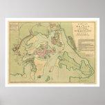 Mapa revolucionario 1776 de Boston Posters