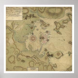Mapa revolucionario de la guerra - 1775 póster