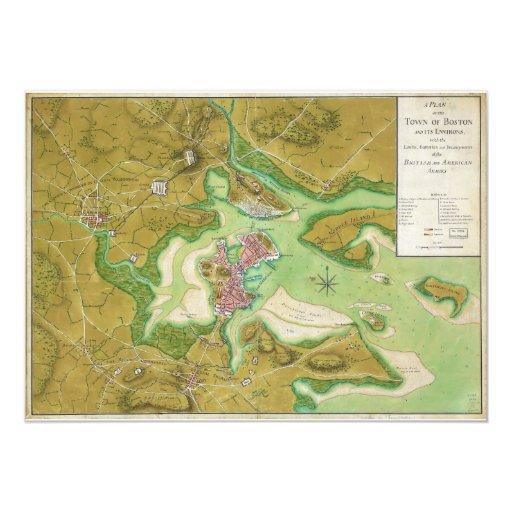 Mapa revolucionario de la guerra de Boston Invitación 12,7 X 17,8 Cm