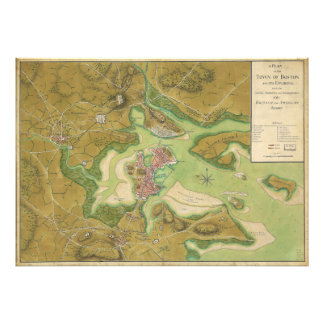 Mapa revolucionario de la guerra del puerto 1776 d fotografía
